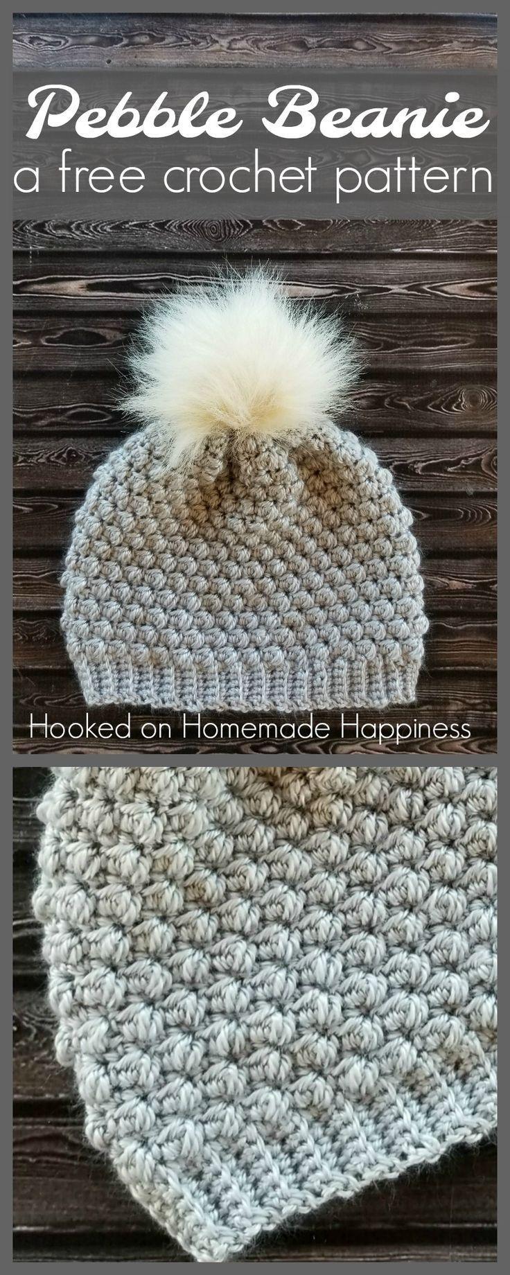 This crochet puff stitch beanie is so adorable! I love fur pom pom. Free crochet pattern!