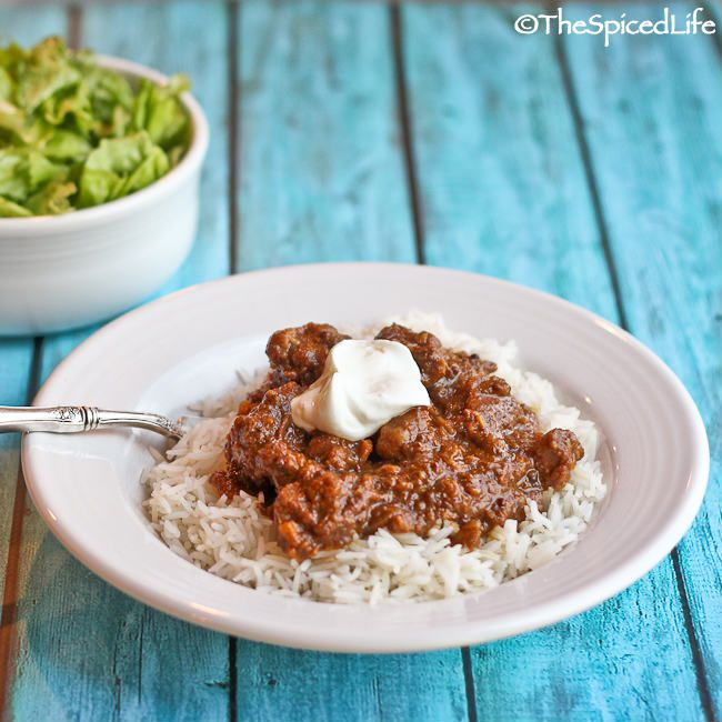 Restaurant Style Beef Vindaloo--just like you get at your favorite Indian restaurant. It is easy and perfect for the slow cooker.