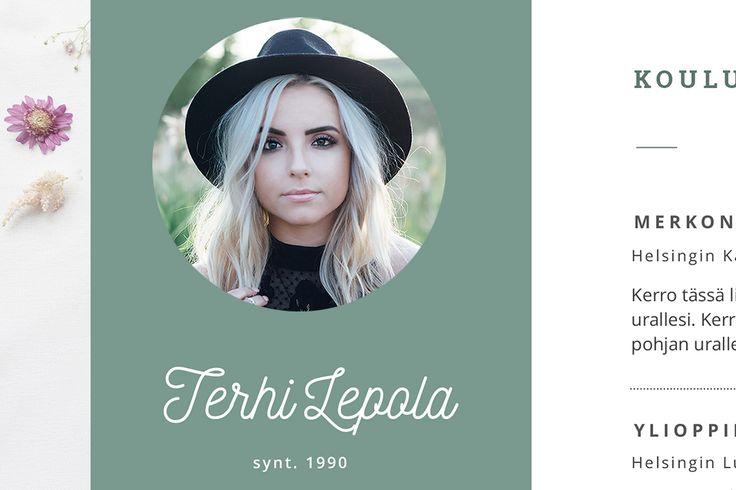 Yksityiskohtia Terhi CV-pohjasta. Terhi on vaikuttava yksisivuinen pohja jonka tulisi herättää vaativimmankin rekrytoijan mielenkiinto!