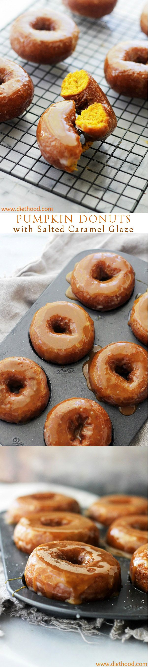 Baked Pumpkin Donuts dipped in a Salted Caramel Glaze. Your new favorite pumpkin recipe!!