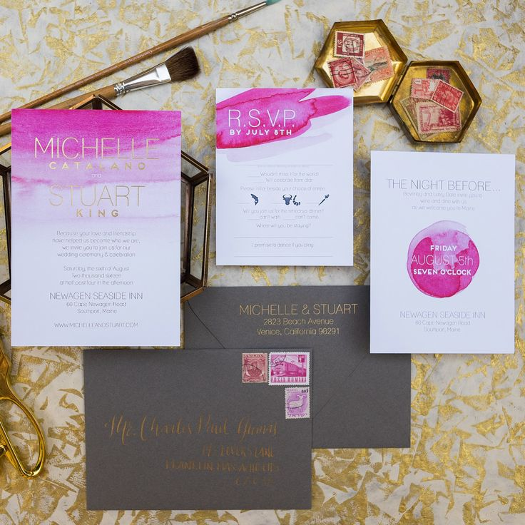 how to address wedding invites%0A magenta gold and grey wedding invitations  Gold foil modern text  bright  pink watercolor wedding