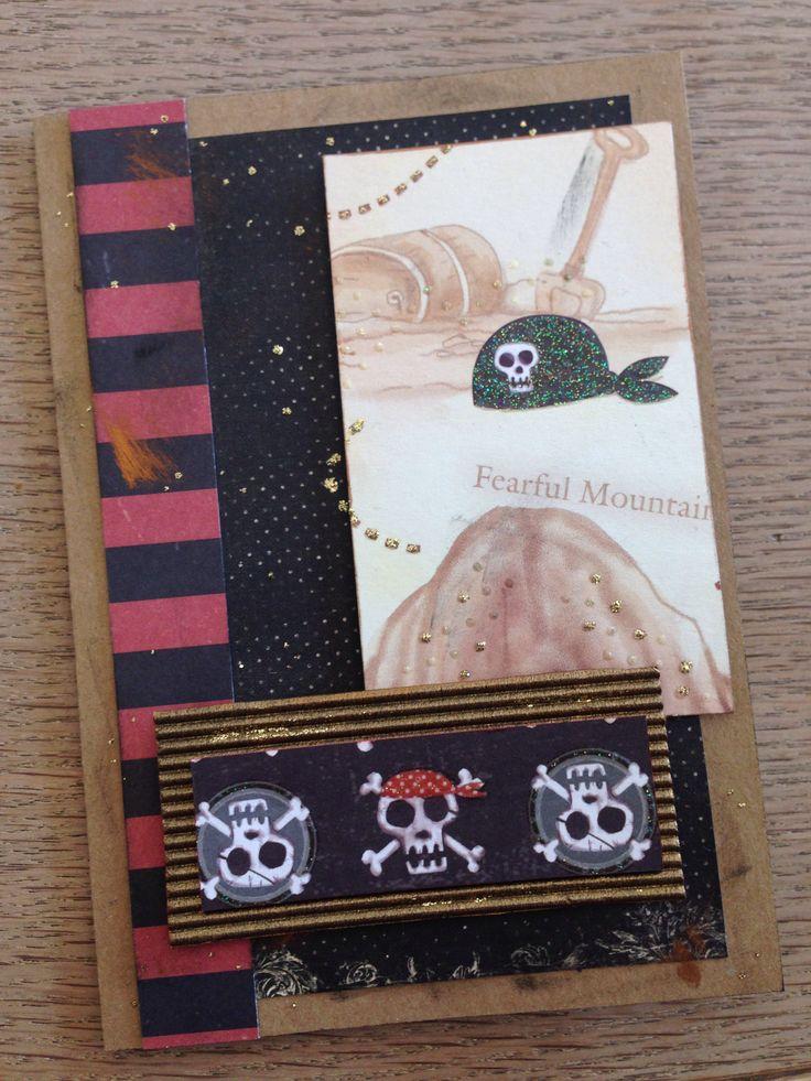 Håndlavet kort Pirat. Homemade card Pirate