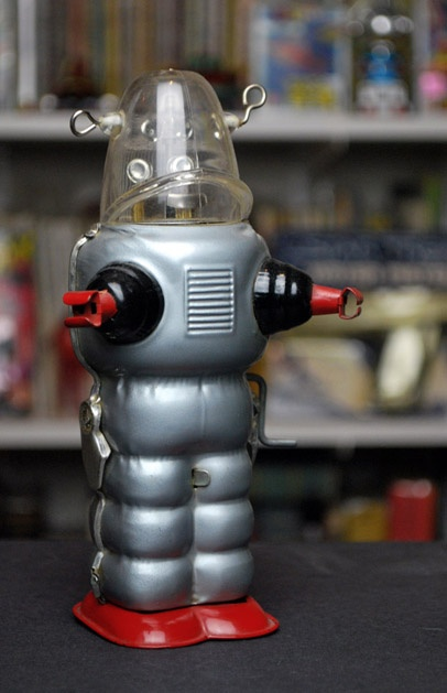 Pre-Production Sample of a Robby the Robot knock off called the Space Trooper. It was made by Yoshiya way back in 1959.