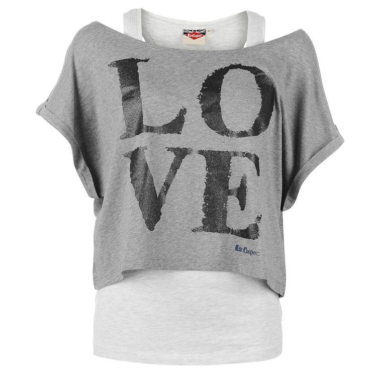 Lee Cooper | Lee Cooper Short Sleeve Double Layer T Shirt Ladies | Ladies T shirts