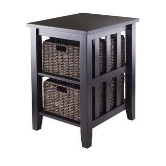 Winsome Morris End Table! Love this! I can hide school books, small toys, remotes, etc. in the baskets, so I can keep everything I