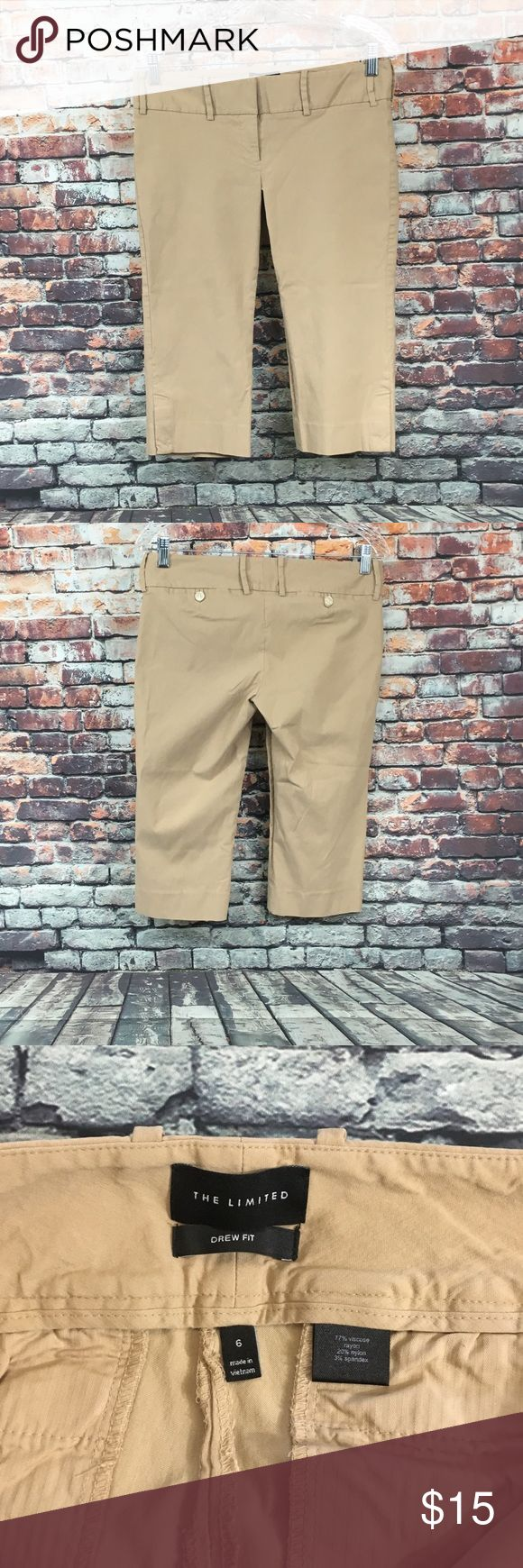 The limited Drew Fit Women's khaki capris size 6 The limited Drew Fit Women's khaki capris size 6 perfect condition see pictures for measurements!!! The Limited Pants Capris