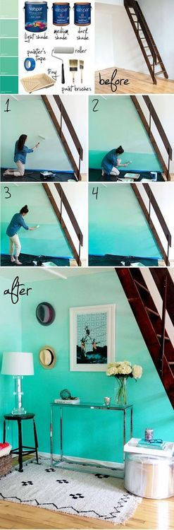 Love this! Ombre painted wall, beachy feel with the colors and the light wood floors