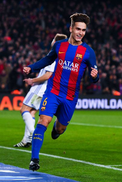 Denis Suarez of FC Barcelona celebrates after scoring his team's fifth goal during the Copa del Rey quarter-final second leg match between FC Barcelona and Real Sociedad at Camp Nou on January 26, 2017 in Barcelona, Catalonia.