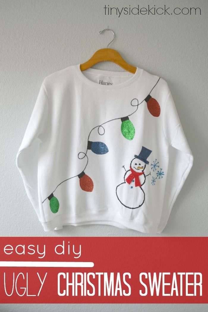 The classic Ugly Christmas Sweater deserves some DIY don't you think?  This one was super easy with the use of one of my favorite new finds!  Glitter iron-on transfer sheets! #uglysweaterchallenge