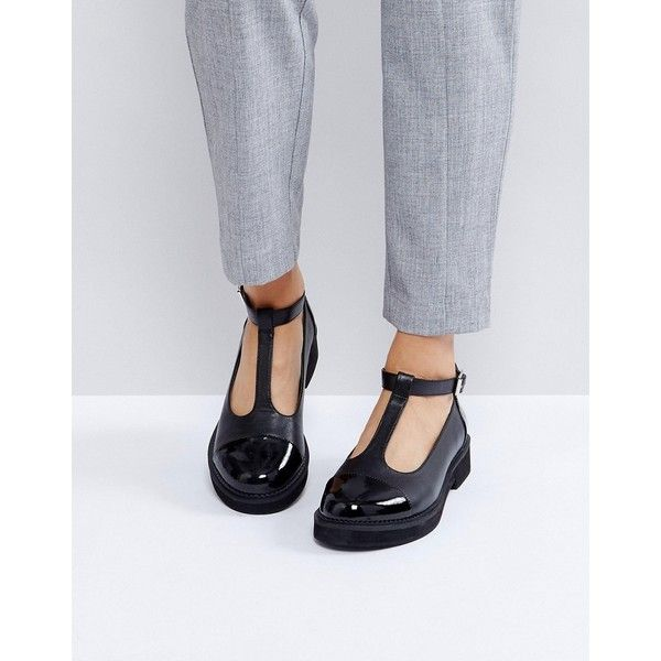 ASOS MADISON Chunky Flat Shoes ($49) ❤ liked on Polyvore featuring shoes, flats, black, black party shoes, t-strap flats, t-strap shoes, flat pumps and flat prom shoes