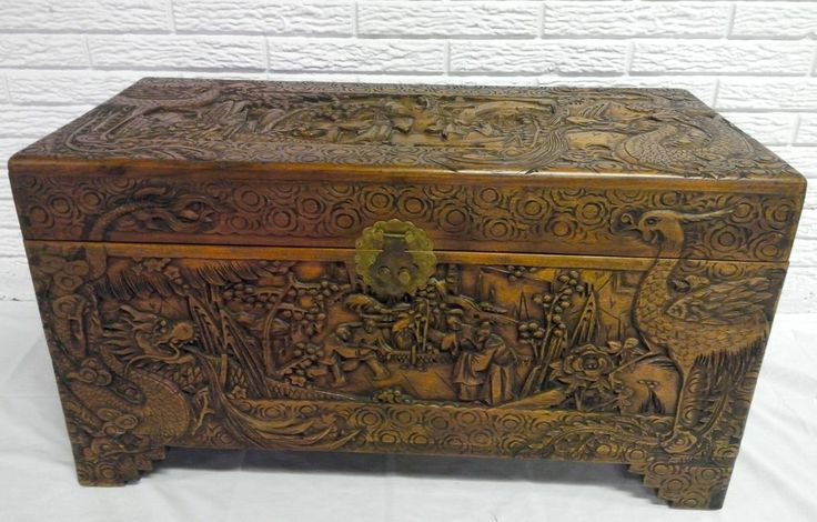 antique hand carved camphor wood chest 2