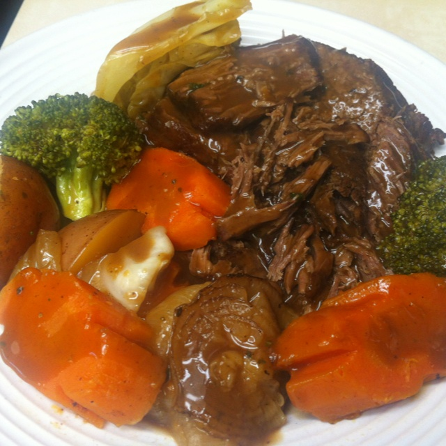 The best crockpot pot roast EVER!  Choose a chuck roast beef, coat the meat with union soup mix, put it in an oven pan , throw any vegetables to go with it, pour a celery cream on top of the meat and a beef stock around the side, cover with foil then bake for 4-6 hrs ( 350 degrees )