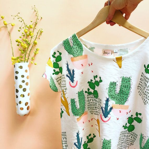 Screen Printed Cactus Colouful Pot Plant Garden by DoopsDesigns