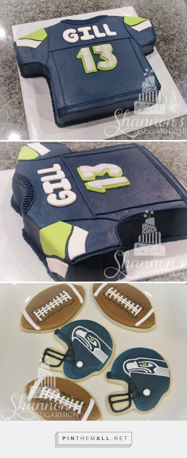 Seattle Seahawks football jersey buttercream cake with fondant accents. Royal icing painted shortbread cookies include footballs and Seattle Seahawks helmets. Keyword: sports, sugar cookie, birthday, Super Bowl, boy. - created via https://pinthemall.net