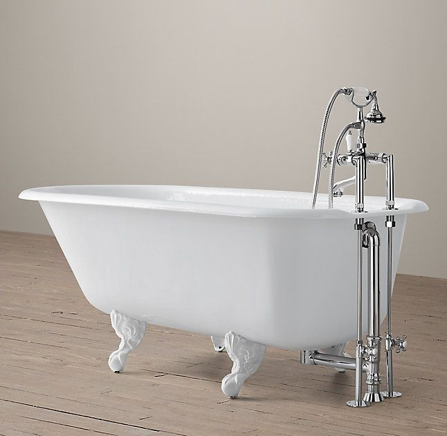 RH's Classic Victorian Clawfoot Tub with Cross-Handle Deck-Mount Tub Fill - White Feet:A traditional 19th century style, our reproduction of a rolled-rim clawfoot tub is built deep and faultlessly finished. Offering a spa-worthy soak, it features a slanted back at the perfect angle of repose.