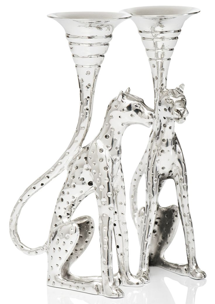 Pewter handcrafted. Candle stick - Cheetah Africa Collection | GoodiesHub.com