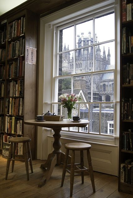 Bookshop in Ely looking out window to Ely Cathedral.