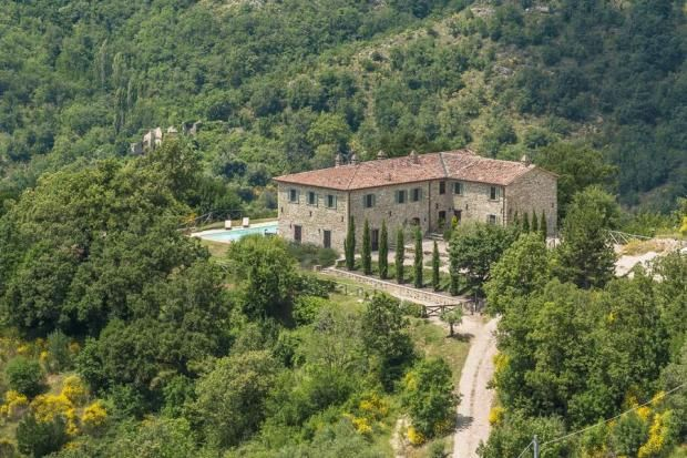 Closest town is Umbertide which is close to Castello di Reschio.  Asking Euro1.95m (2016).