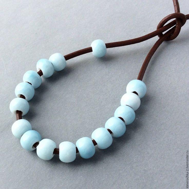 Купить _Керамические бусины 7х5 мм голубые для украшений - ceramic porcelain beads