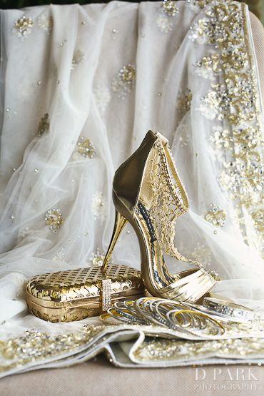 Sri Lankan Golden Wedding Accessories Heels Clutch Sari Details by D Park Photography