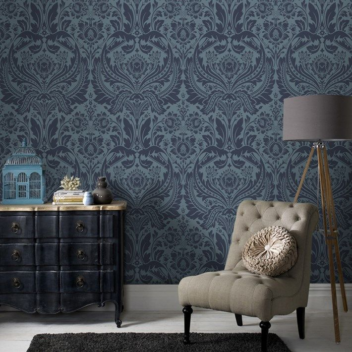 Desire Damask Wallpaper Designer Blue Damask