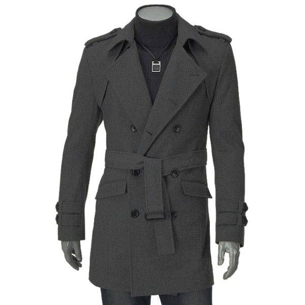 Turn Down Collar Epaulet Design Double Breasted Long Sleeve Woolen... (74 BAM) ❤ liked on Polyvore featuring men's fashion, men's clothing, men's outerwear, men's coats, mens wool outerwear, mens double breasted wool coat, mens fur collar coat, mens double breasted coat and mens wool coats