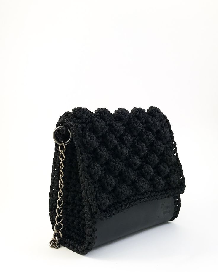 Shoulder bag handmade from genuine calf leather with crochet details . Interior leather lining. Closes with magnetic clasp. Size: 22x20  Comes in a dust bag  Markella Fili Creations