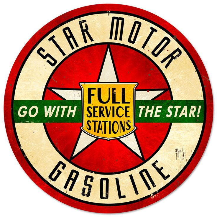 This Star Motor Gasoline round metal sign measures 14 inches by 14 inches and weighs in at 2 lb(s). We hand make all of our round metal signs in the USA using heavy gauge american steel and a process known as sublimation, where the image is baked into a powder coating for a durable and long lasti...