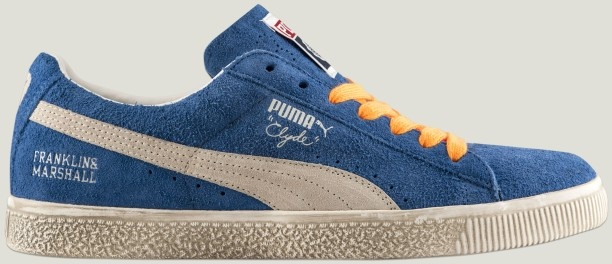 The new Puma #Clyde #sneakers restyled for Franklin & Marshall, available in imperial blue