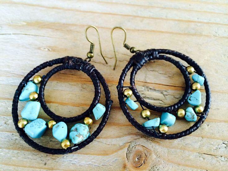 Turquoise waxed cotton earrings. 12,50
