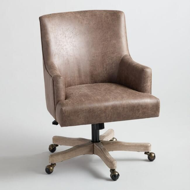 Brown Faux Leather James Upholstered Office Chair V1 Upholstered Office Chair Home Office Chairs Modern Office Chair