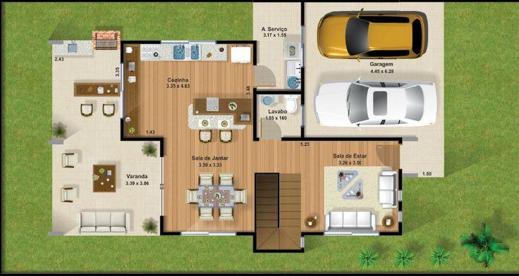 Plano de casa de dos plantas con garaje 03