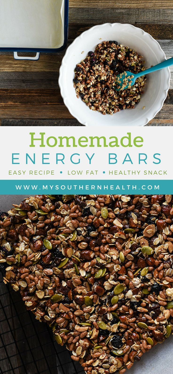 Crunchy, chewy, satisfying — these healthy, homemade energy bars are nutritious and versatile. Get the recipe here! #mysouthernhealth #homemadeenergybars #energybarrecipe #energybars