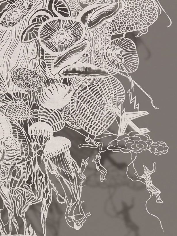 """Hand Cut Rice paper by Bovey Lee  """"Atomic Jellyfish""""  (Detail 2)"""