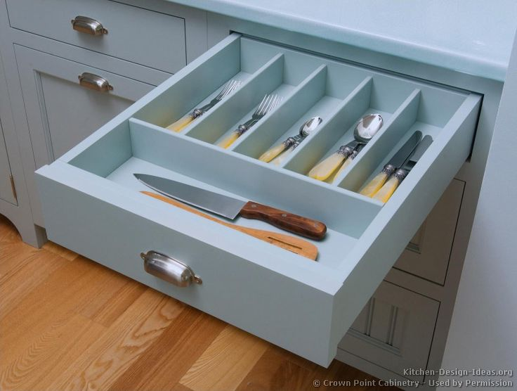 #Kitchen Idea Of The Day: Blue Kitchen Cabinets, Silverware Drawer. (By