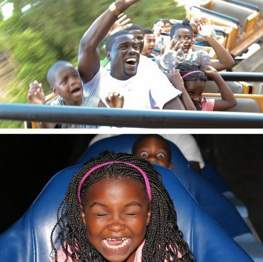 Kevin Hart and kids. In the top photo his children let go but he keeps one hand holding on.