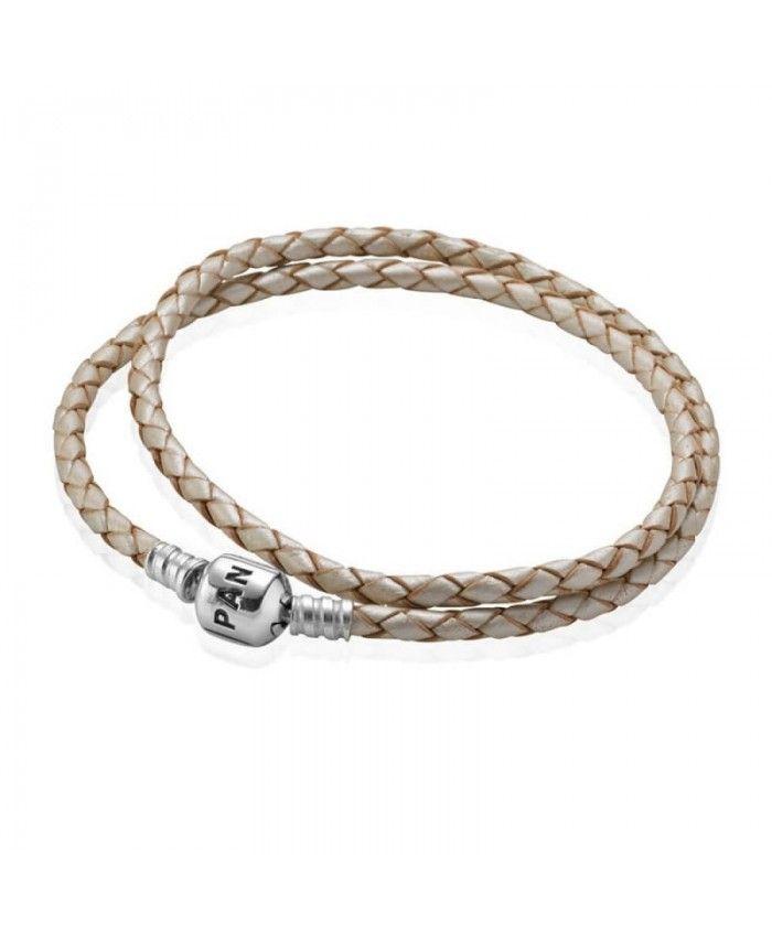 Pandora Champagne Double Woven Leather Bracelet UK
