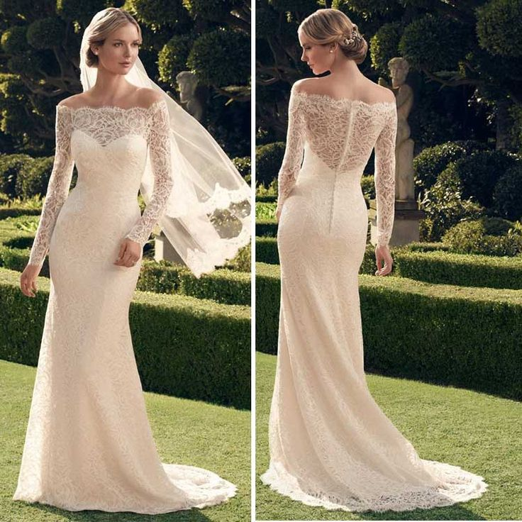 Vestido De Novia 2015 Lace White Long Sleeved Wedding Dresses The Bride Elegant Perspective Backless Fishtail Long Wedding Gown-in Wedding Dresses from Weddings & Events on Aliexpress.com | Alibaba Group