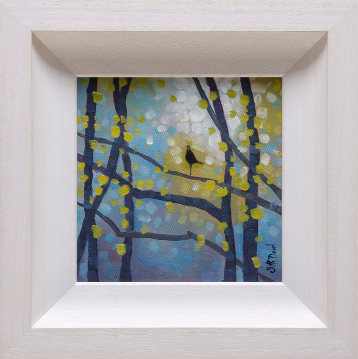 Morning light and birch tree by Sharon McDaid - PAINTING