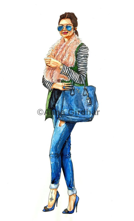 "Custom fashion illustration by ""LOOKillustrated""