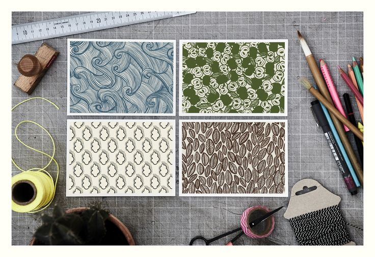 """""""Nature"""" patterns, Pack of 4 cards, design by Betina Helles"""