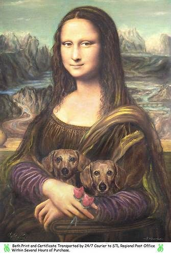 "Mona Lisa Dachshund Oil Ptg by Originaldo s N Artist Proof Print 8""x10"" w COA | eBay"