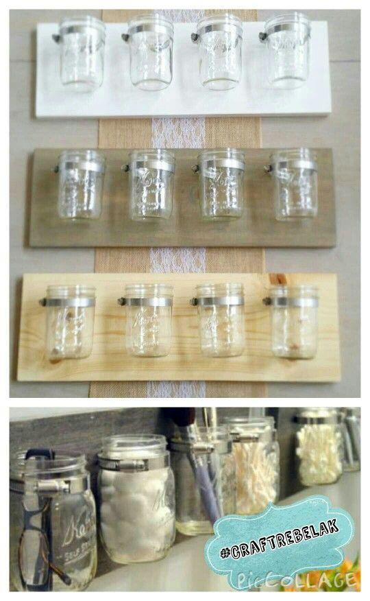 Mason jar organization,  functional art.  Storage,  office decor,  bathroom,  wall art,  make-up brush holder,  flower vase,  diy.  #CraftRebelAK