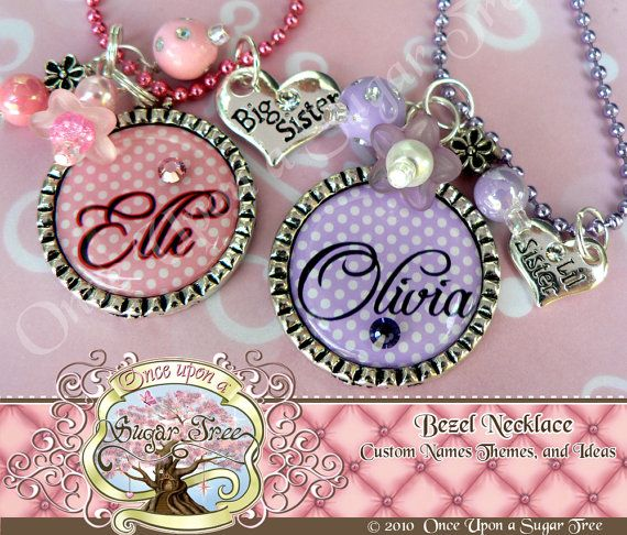 love these: Dots Big, Sisters Necklaces, Polka Dots, Pendants Necklaces, Bezel Pendants, Baby Gifts, Wedding Flowers, Big Sisters, Little Sisters