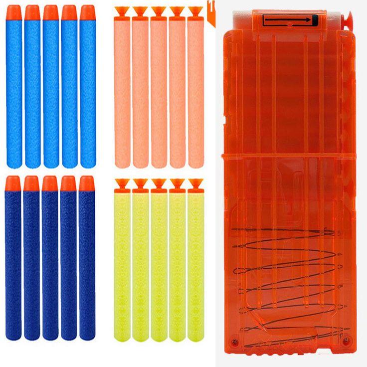 1 Soft Bullet Clip + Many Soft Bullets For Gun For Children Cartridge Dart Magazine Ammo Clips N-STRIKE ELITE Toy Gun