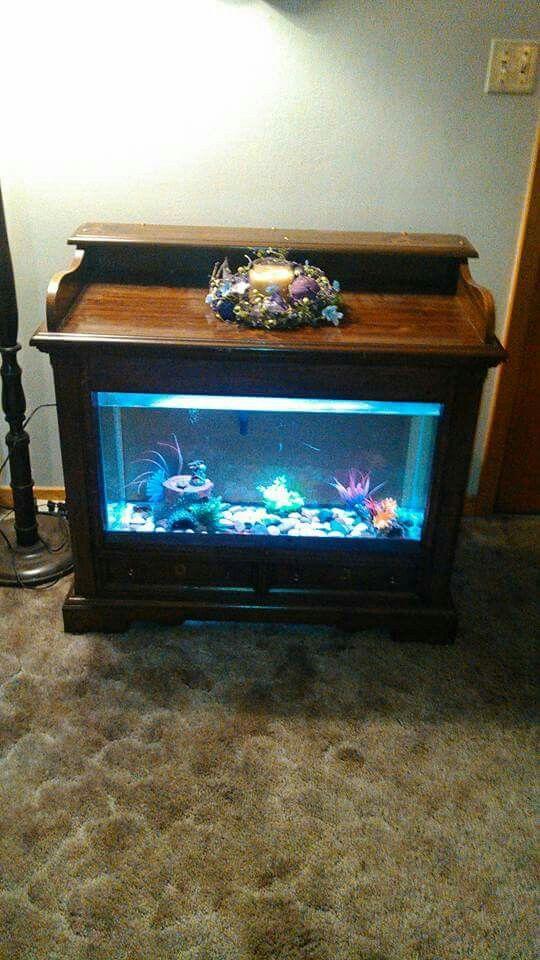 Custom made fish aquarium made from an old tv