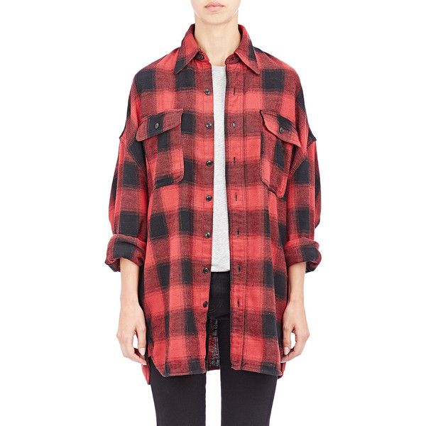 R13 Oversized Shirt ($425) ❤ liked on Polyvore featuring tops, multi, shirts & tops, oversized plaid shirt, tartan shirt, oversized shirt and plaid top