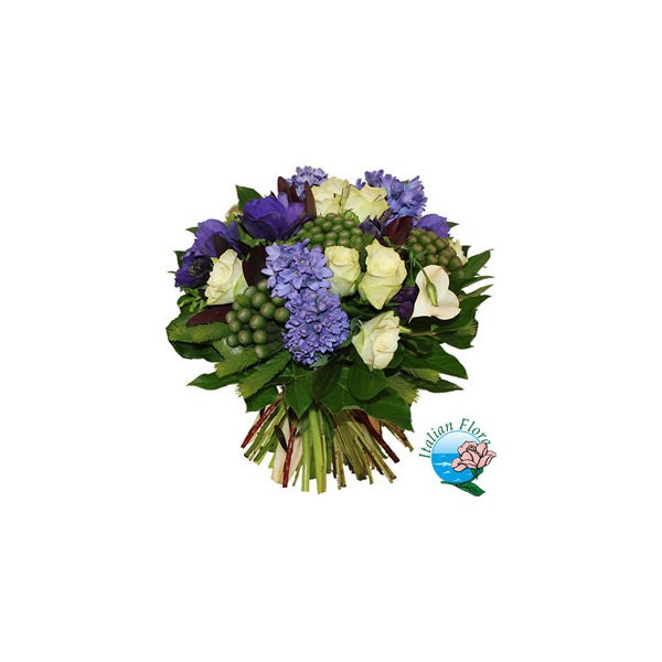 Bouquet di giacinti blu rose e lysianthus bianchi ❤ liked on Polyvore