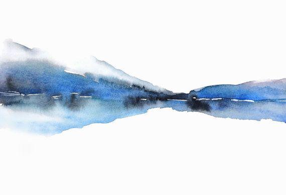 Turquesa acuarela arte grabado, paisaje de montaña, montaña cuadros, turquesa acuarela pintura, relajante arte impresión, impresión de lago, 8 x 10 +