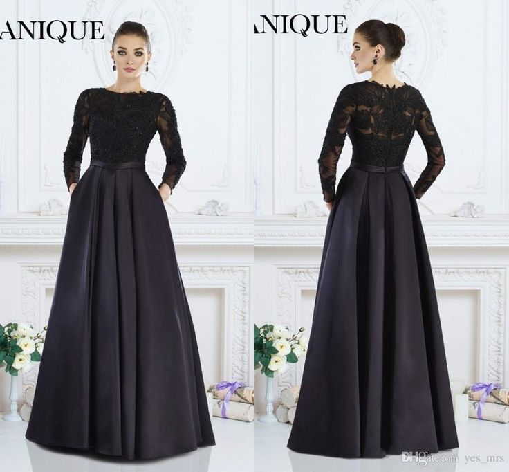 2016 New Cheap Janique Prom Dresses Jewel Neck Illusion Lace Appliqued Beads Back Satin Long Sleeves Party Dress Evening Gowns With Pocket Online with $129.84/Piece on Yes_mrs's Store | DHgate.com